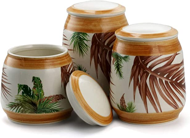 Amazon Com Elama Kitchen Food Canister Collection 3 Piece Tropical Sand Kitchen Dining