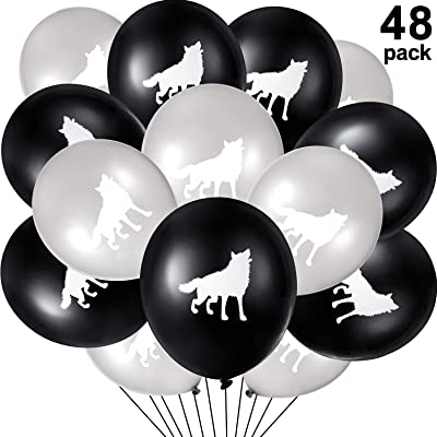 48 Pieces Wolf Latex Balloons Wolf Animal Printed Balloons for Kids Birthday Baby Shower Festival Party Decoration Supply, 12 Inches: Toys & Games