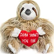 Light Autumn Valentines Day Stuffed Animals - Girlfriend Gifts - Shawty You Fine - Valentine Sloth Bear for Her - Cute Funny