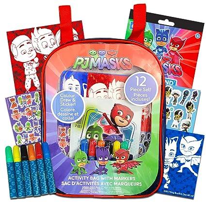 Amazon.com: PJ Masks Mochila para colorear y actividad, para ...