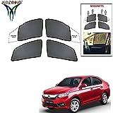 Kozdiko Half Magnetic Car Sunshades Curtain Set of 4 Pcs Black Color for Honda Amaze (2018-Present)
