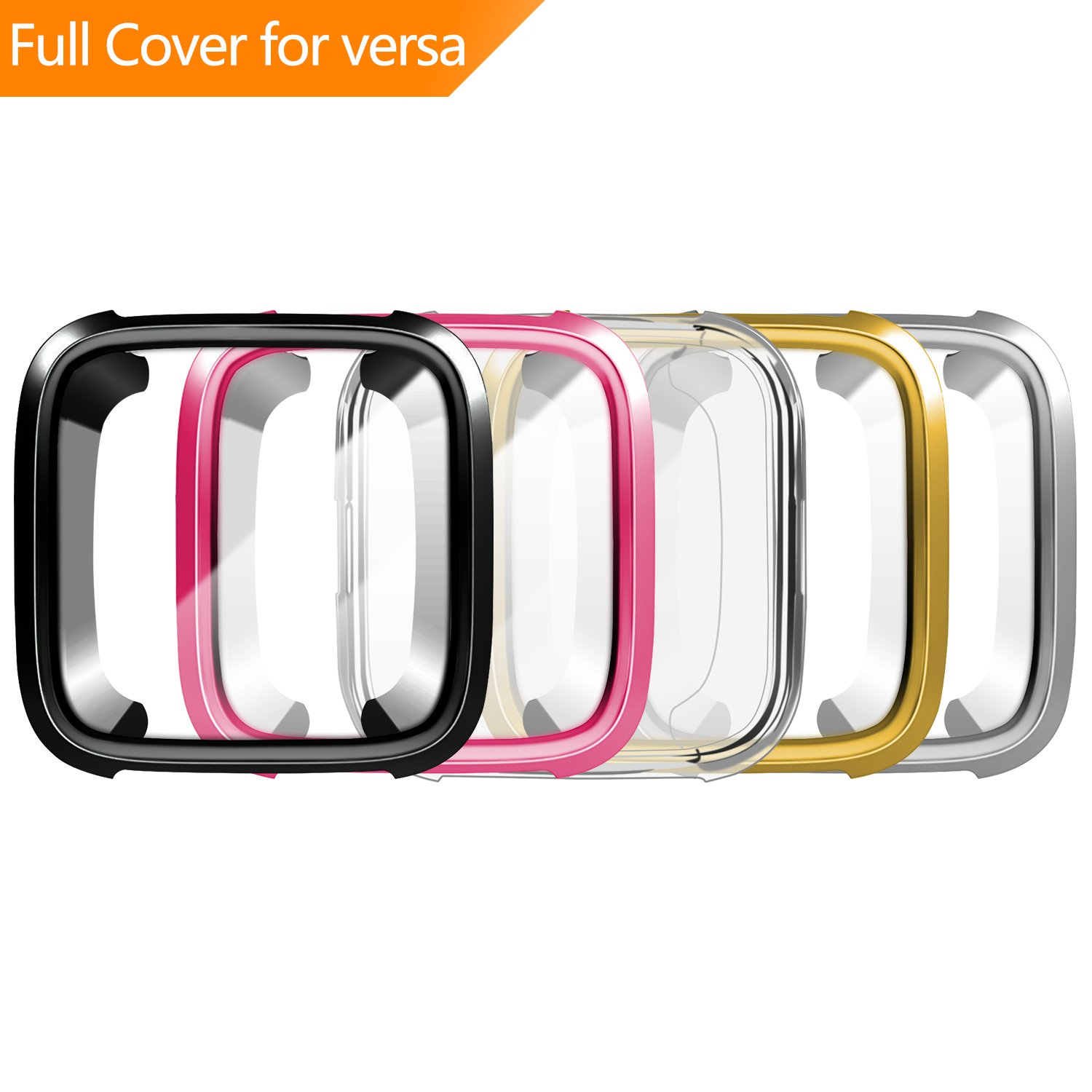 [New Version] Case for Fitbit Versa,Soft TPU Protective Full Cover Shell Bumper Case Protector for Fitbit Versa Smartwatch - 5 Packs