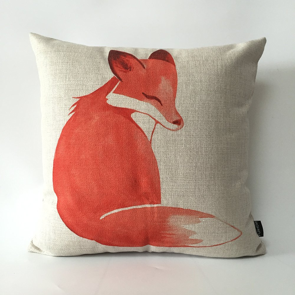 FUNHOM Red Fox Pillow Cover Animal Cartoon Cushion Home Decoration Pillow Thick Linen Throw Pillow Pillowcase Sofa Cushions Covers