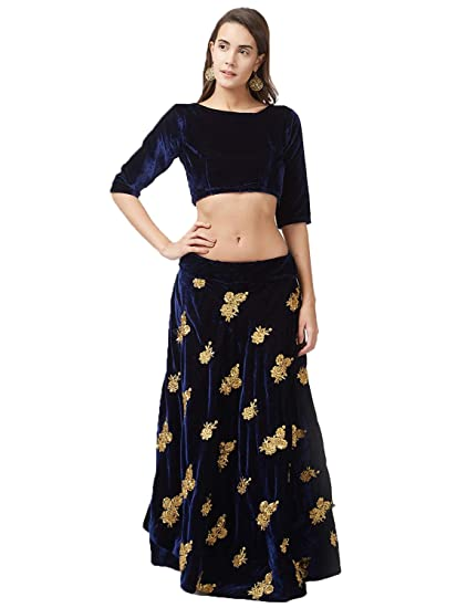 d99159374 Peachmode Women's Blue Party Wear Velvet Lehenga Choli: Amazon.in: Clothing  & Accessories