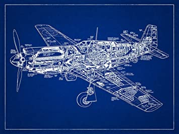 Amazon p 51 mustang fighter plane ww2 aircraft blueprint p 51 mustang fighter plane ww2 aircraft blueprint style art print 18x24 inch malvernweather Gallery