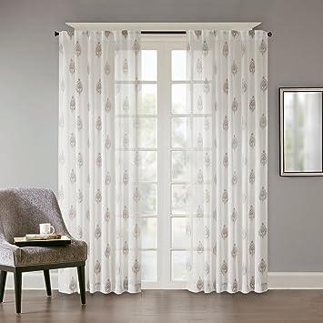 URBAN HABITAT Aria Dekoschal Gardine Schal Aus Voile Vorhänge Wohnzimmer  Modern Elegant Weiß, Graue Stickerei