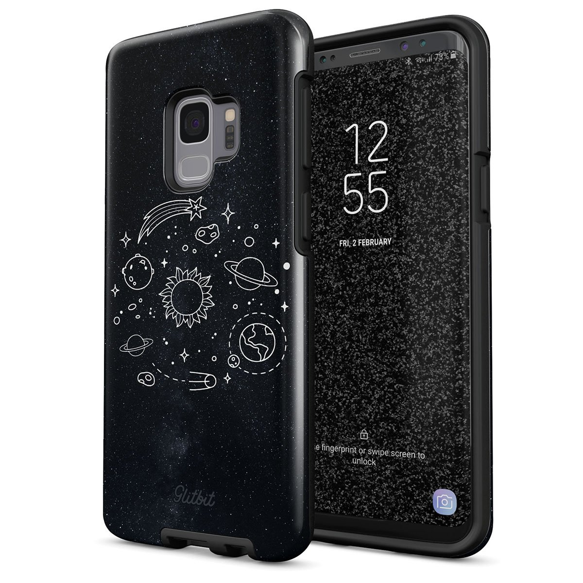 Glitbit Samsung Galaxy S9 Case Cute Solar System Galaxy Stars Planet Sun Earth Moon Universe Cosmic Cosmos Space Tumblr Heavy Duty Shockproof Dual Layer Hard Shell + Silicone Protective Cover