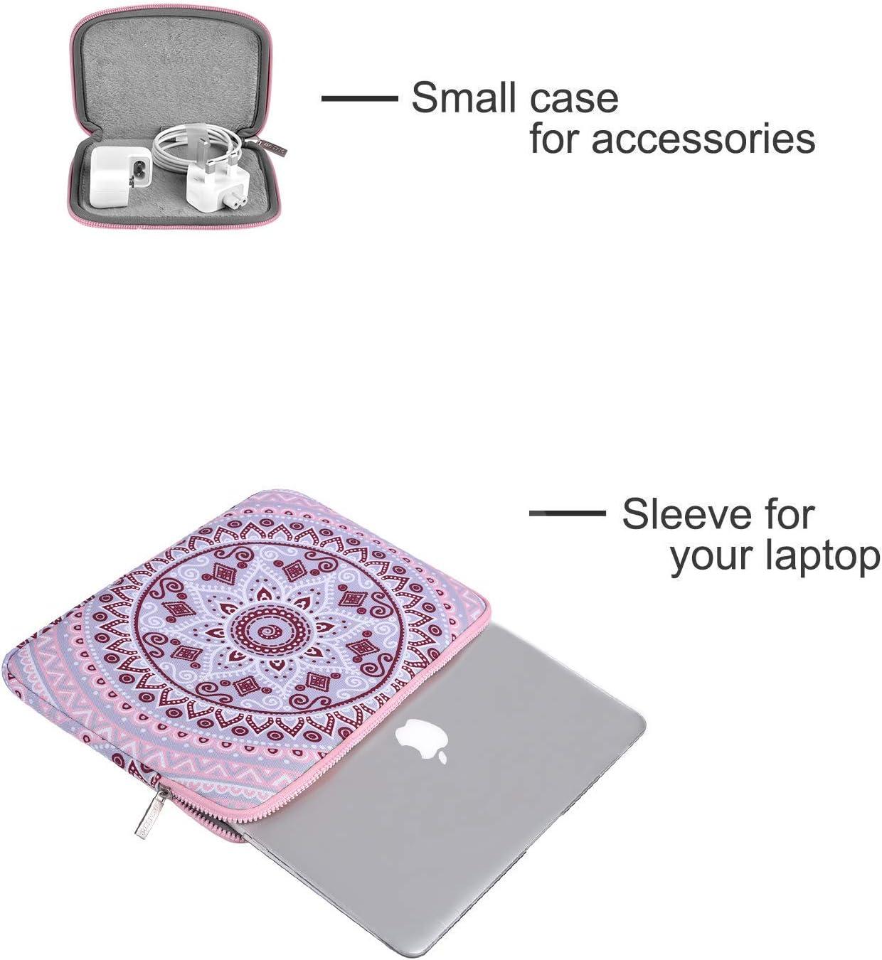 MOSISO Laptop Custodie Morbide Borsa Compatibile con 2019-2016 MacBook PRO 15 Pollici Touch Bar A1990//A1707,14 Pollici Chromebook ThinkPad,Mandala Modello Manica con Piccolo Caso,Blu e Rosa