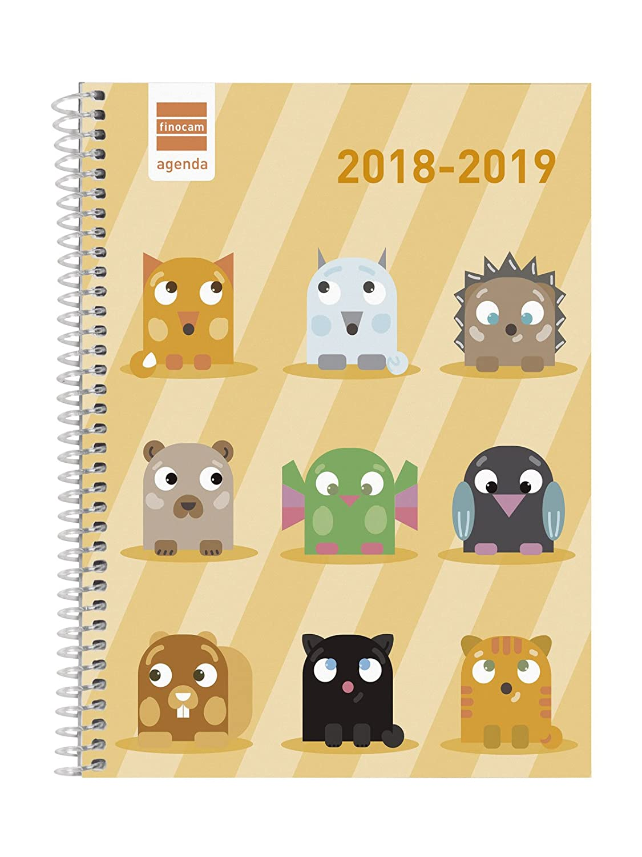 Finocam Básica - Agenda 2018-2019 semana vista apaisada catalán, 155 x 212 mm, animals