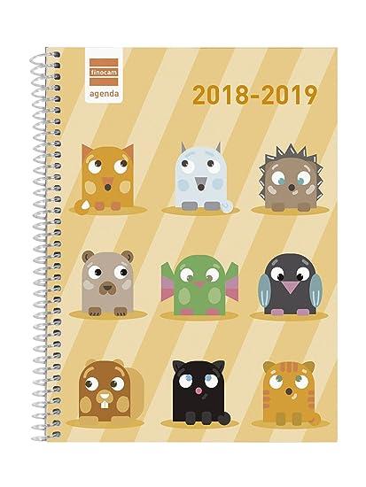 Finocam Básica - Agenda 2018-2019 semana vista apaisada español, 155 x 212 mm, animals