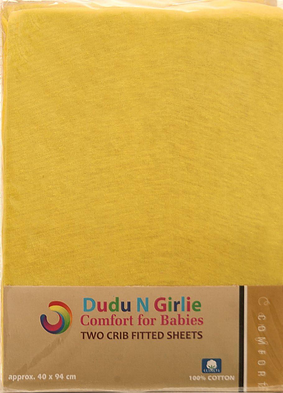 51/cm x 85/cm 2/pi/èces bleu//jaune Dudu N Girlie Next2me Drap-housse en jersey de coton de berceau