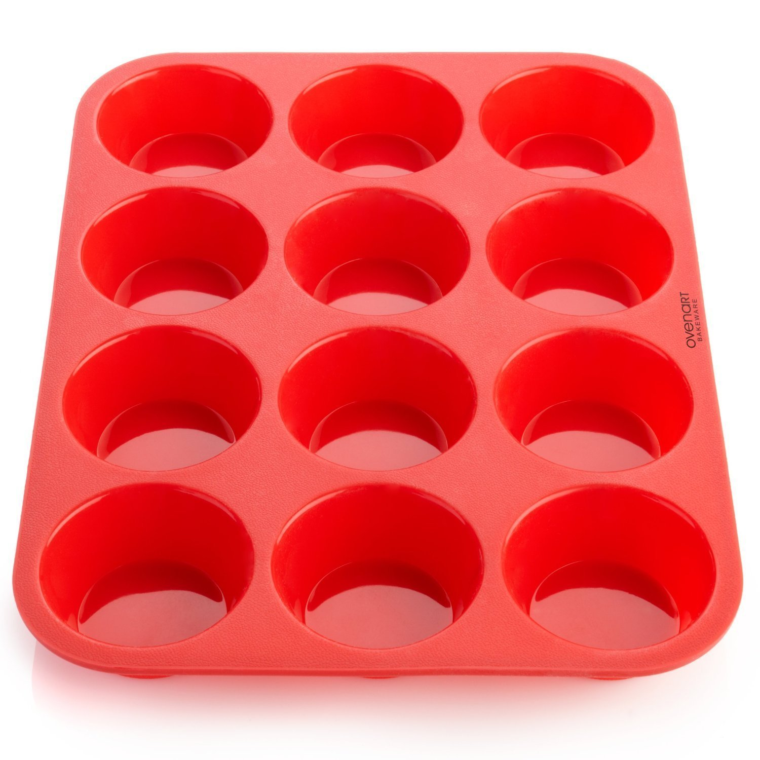 OvenArt Bakeware Silicone 12-Cup Muffin Pan, Red 12-Cup-Muffin-Pan