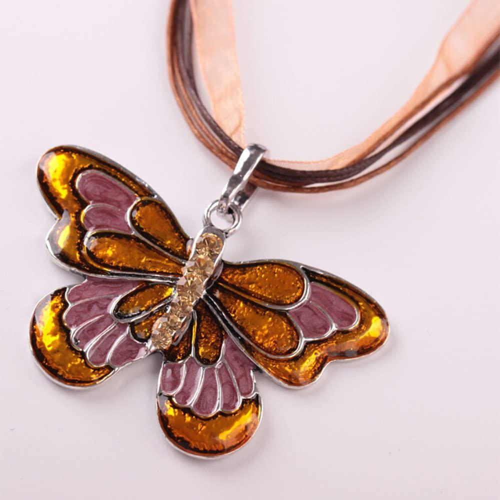 Haluoo Vintage Butterfly Necklace Popular Colorful Enamel Butterfly Pendant Necklace Rhinestones Butterfly Choker with Handmade Multi Layered Lace and Rope Cord Chain Necklace for Women Girls