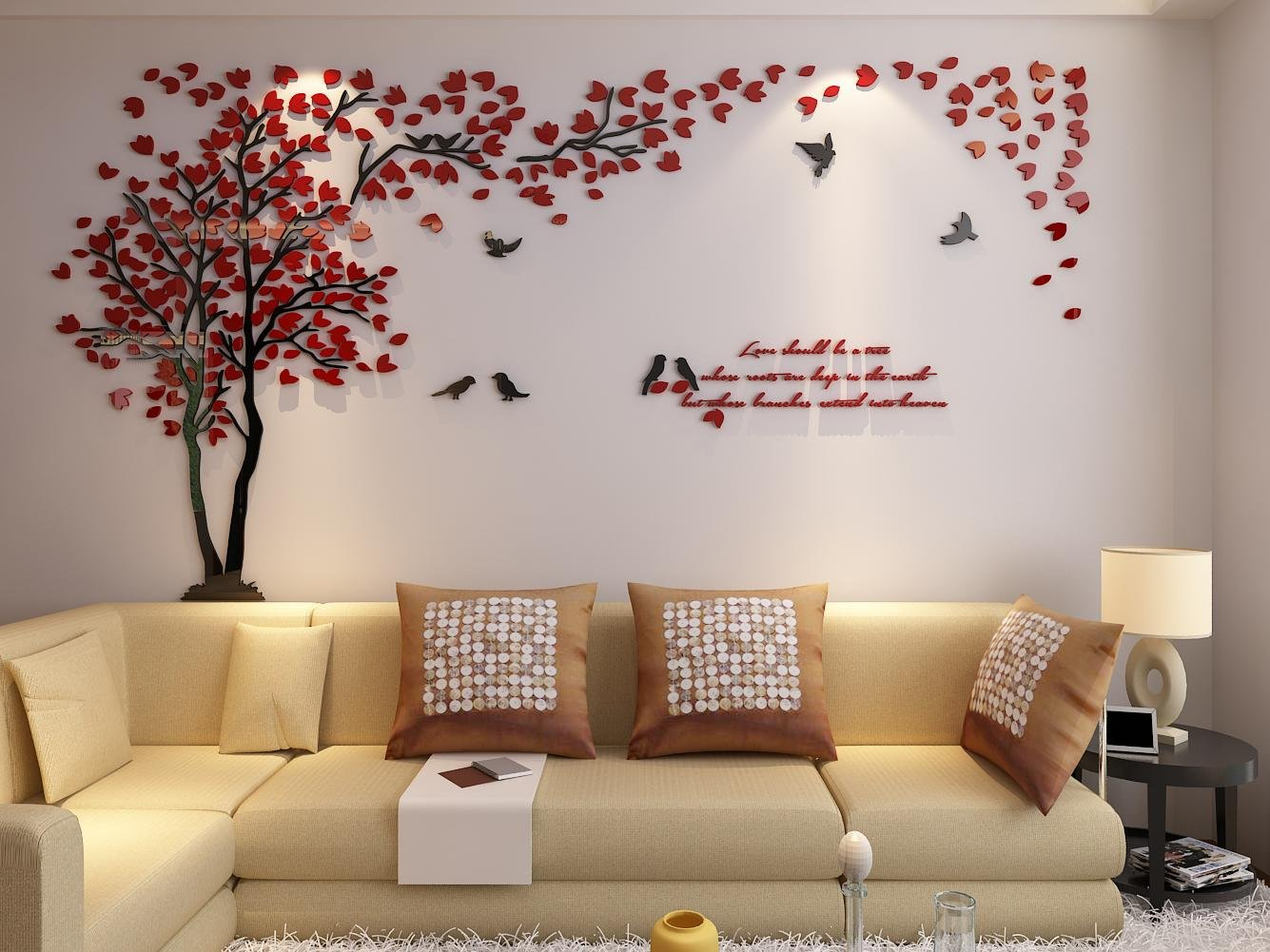 3d Couple Tree Wall Murals for Living Room Bedroom Sofa Backdrop Tv Wall Background, Originality Stickers Gift, DIY Wall Decal Home Decor Art Decorations (Large, Red) by Hermione Baby (Image #4)