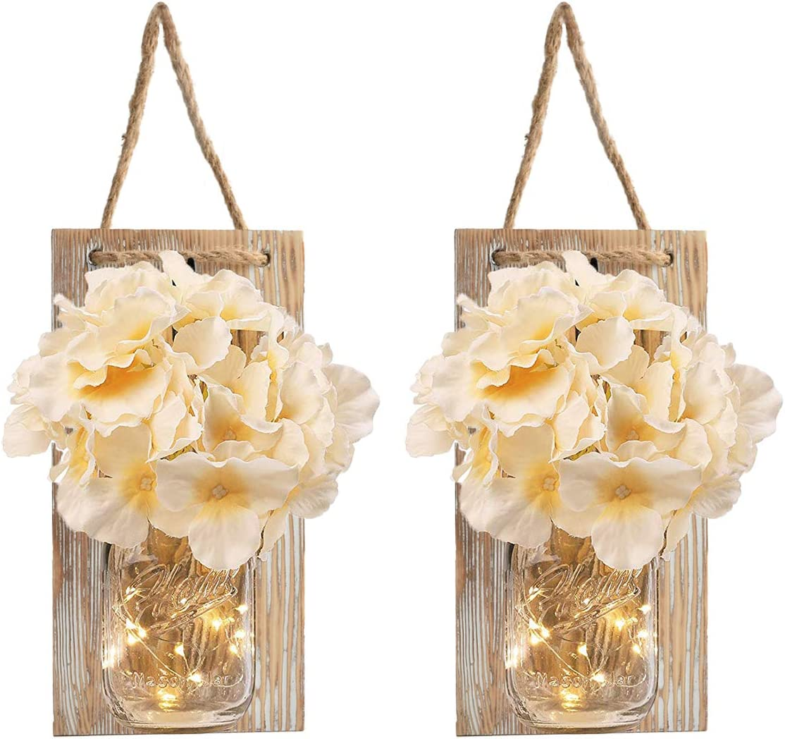 Mason Jar Sconce Rustic Home Wall Decor with LED Fairy Lights - Handcrafted Hanging Mason Jar Sconces 2 Pack, Infinite Loop Timer Switch and 30 LED (Yellow board)