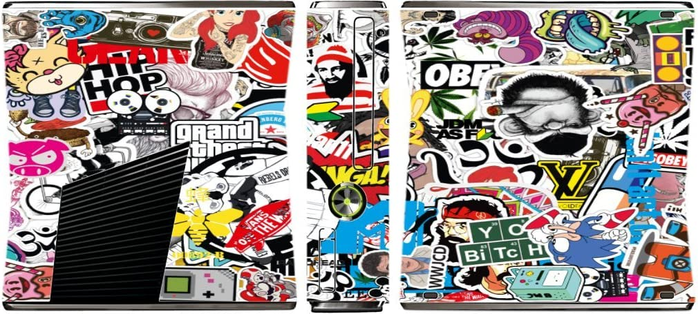 Sticker Bomb Xbox 360 Slim (2010) Vinyl Decal Sticker Skin by This Mugs 4U