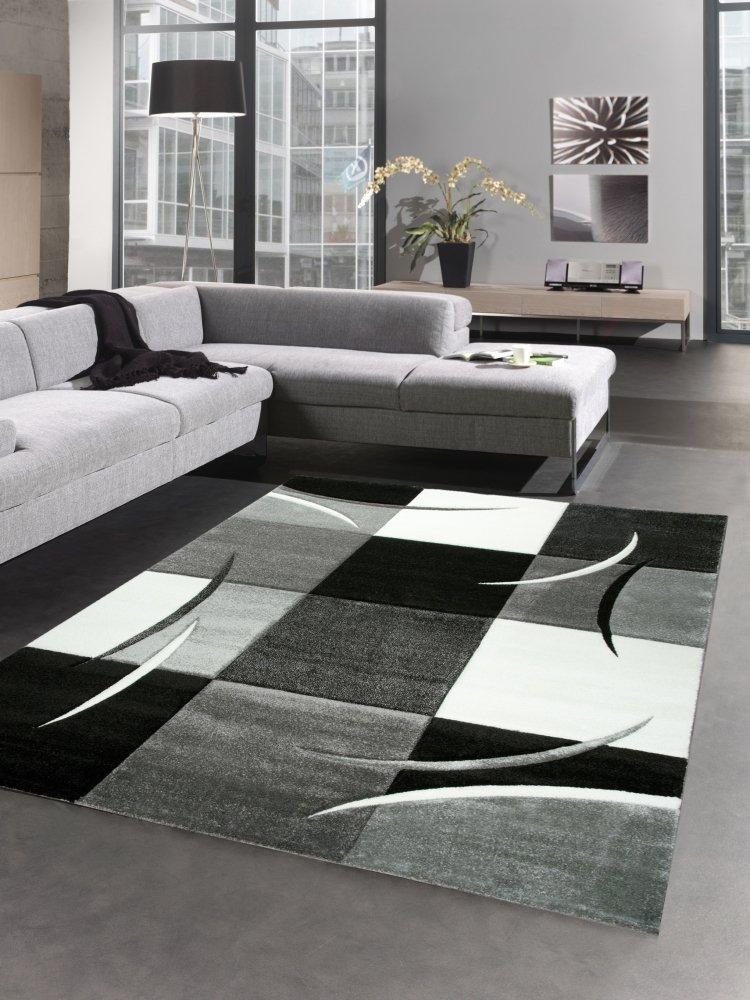 Carpetia Designer Teppich Wohnzimmerteppich Karo Grau Creme Schwarz Größe 160x230 cm