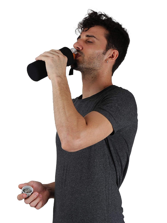 Perfect placed Botella de Agua de Cristal de Borosilicato Deportiva A Prueba de Fugas Sin BPA Recipiente para Bebidas Fr/ías y Calientes con Funda de Transporte de Neopreno y Cepillo de Esponja 550 ml