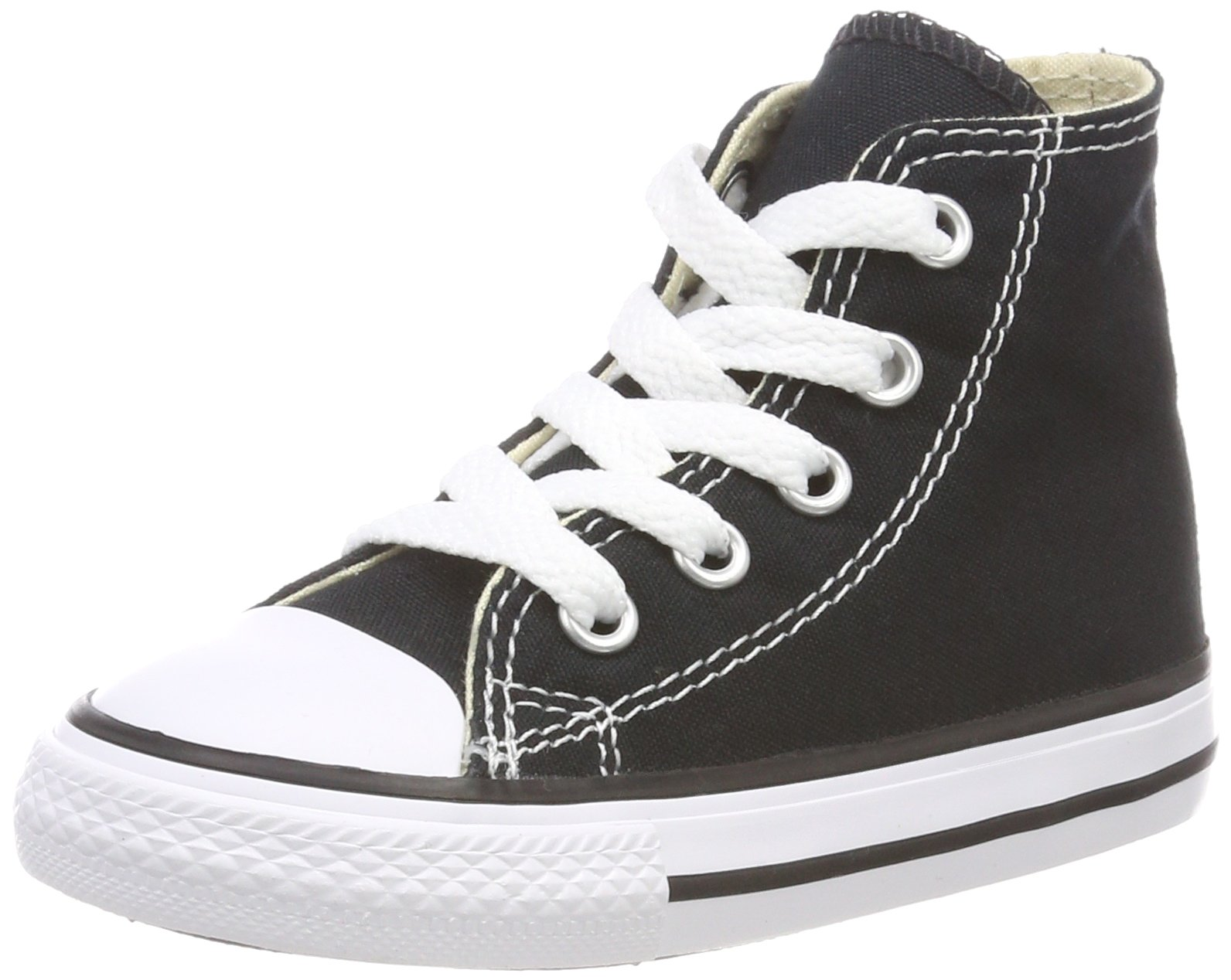 Converse Chuck Taylor All Star Canvas High Top Sneaker, Black, 2 M US Little Kid