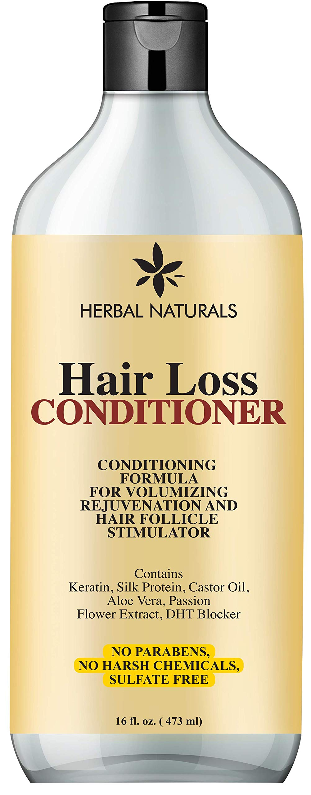 Hair Loss Conditioner Infused with Keratin Silk Protein, Natural Ingredients - Provides Hair Growth Stimulation, Hair Thickening, Nourishment and adds Volume, For All Hair Types Men and Women 16 fl Oz by HERBAL NATURALS