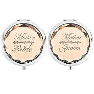 2 Pack,Wedding Keepsake Gift,1 Mother of the Bride makeup mirror 1 Mother of The Groom makeup mirror,Crystal Pocket Compact Makeup Mirror,Engraved Present (champagne)