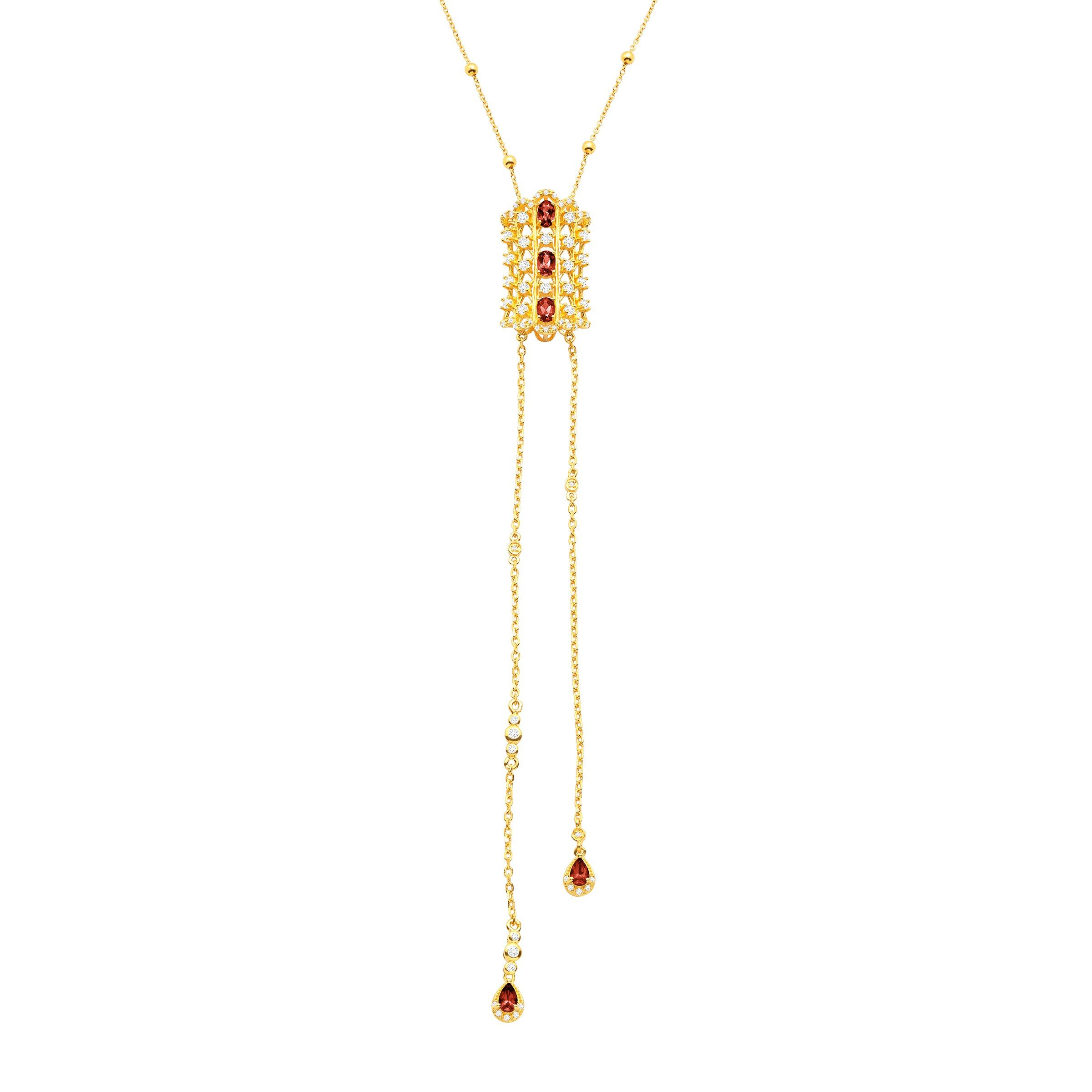 Cristina Sabatini Natural Rhodochrosite & White Topaz Lumiere Necklace in 18K Gold-Plated Sterling Silver