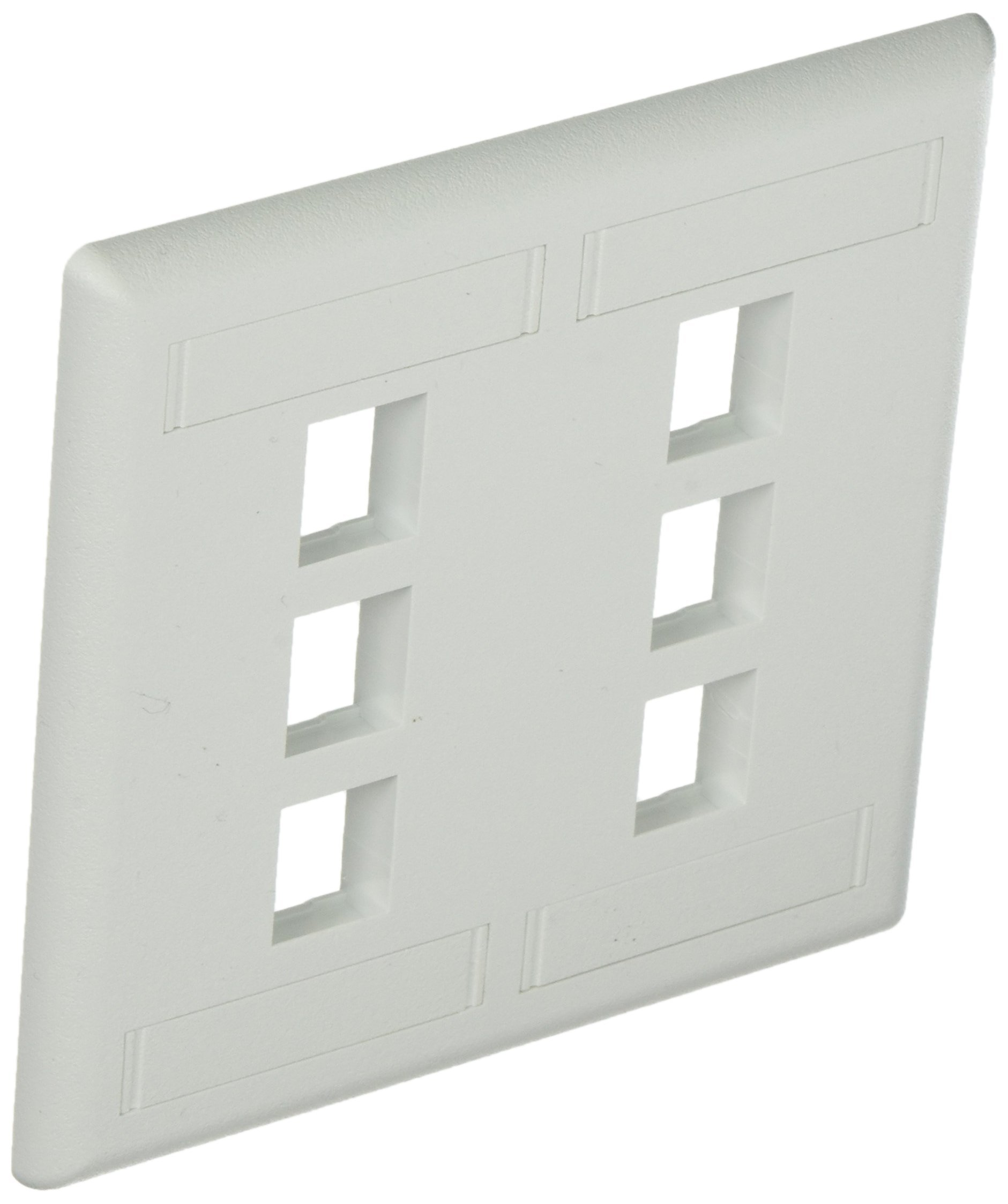 Hubbell IFP26W Flush Phone/Data/Multimedia Wall Plate, 2 Gang, 6 Port, White (Pack of 10)