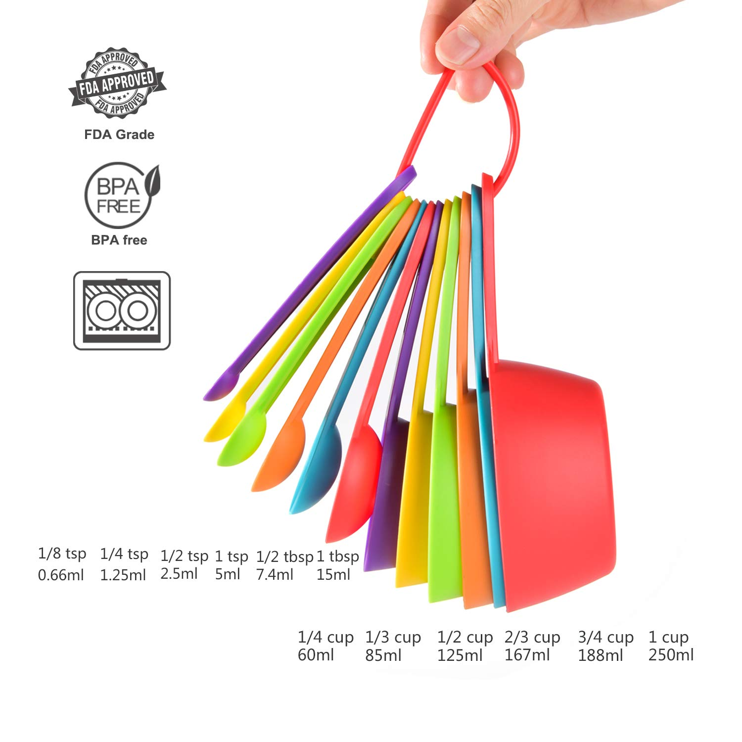 Measuring Cups and Spoons Set, 12 Piece Plastic Measuring Cups Measuring Spoons Stackable for Measuring Dry and Liquid Ingredients Great for Backing and Cooking (Random Color)