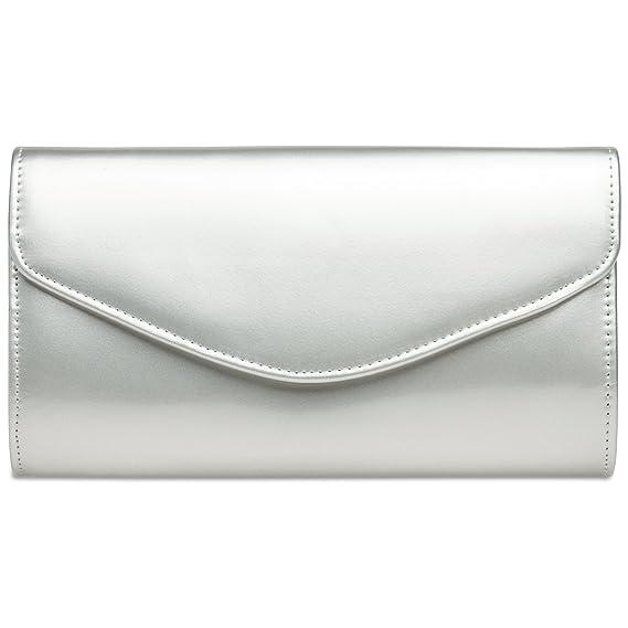 CASPAR TA361 Sac à main enveloppe clutch élégant pour femme - Pochette de soirée avec longue chaînette, Couleur:doré;Taille:One Size