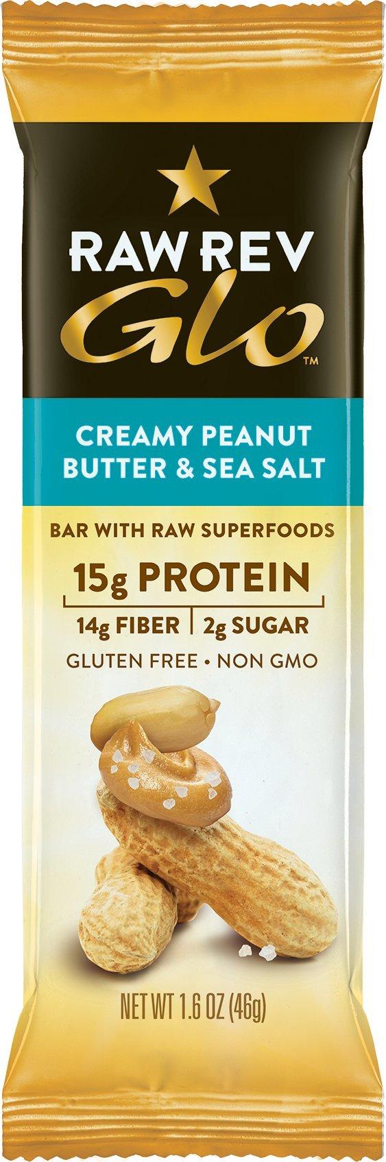 Raw Rev Glo Vegan Gluten-Free Protein Bars, Creamy Peanut Butter & Sea Salt, 12 Count Box of 1.6 Ounce Bars (3 Boxes) 15g Protein, 2g Sugar, 14g Fiber, Keto-Friendly, Vegan, Plant-Based Protein by Raw Rev Glo