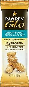 Raw Rev Glo Vegan Protein Bars, Creamy Peanut Butter & Sea Salt, 1.6 Ounce (Pack of 24)