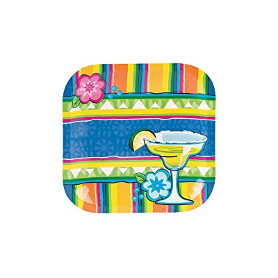 Fun Express - Fiesta Margarita Dessert Plate (8pc) for Cinco de Mayo - Party Supplies - Print Tableware - Print Plates & Bowls - Cinco de Mayo - 8 Pieces: Toys & Games