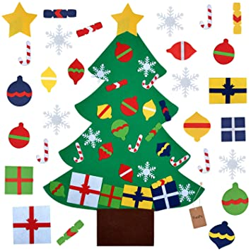 the latest 4d359 a9c08 FunPa Felt Christmas Tree, 3.2ft DIY Christmas Tree with 28 Pcs Ornaments  Wall Decor with Hanging Rope for Kids Xmas Gifts Home Door Decoration