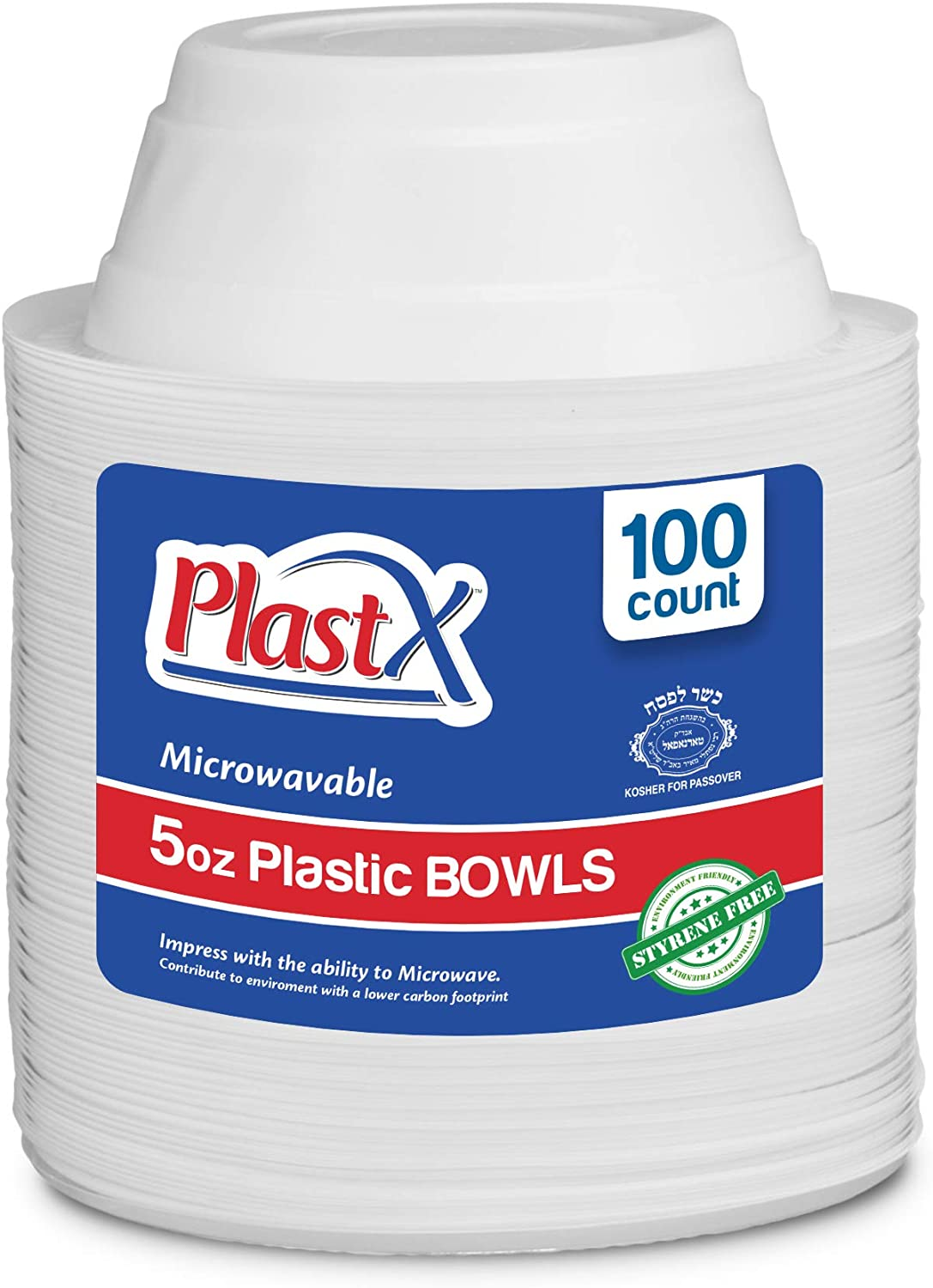 100 Count, PlastX Disposable 5oz White Plastic Dinnerware Dessert Bowls, Microwavable, Great For Home, Office, Wedding, Parties, or Everyday Use, 1 Pack