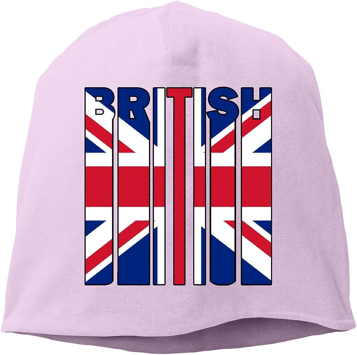 SHA45TM British Flag Word Men Women Winter Skull Cap Snowboarding Beanie Hat