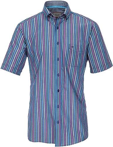 Botón de Abajo a Rayas Camisa de Manga Corta Azul-Verde-Rosa ...