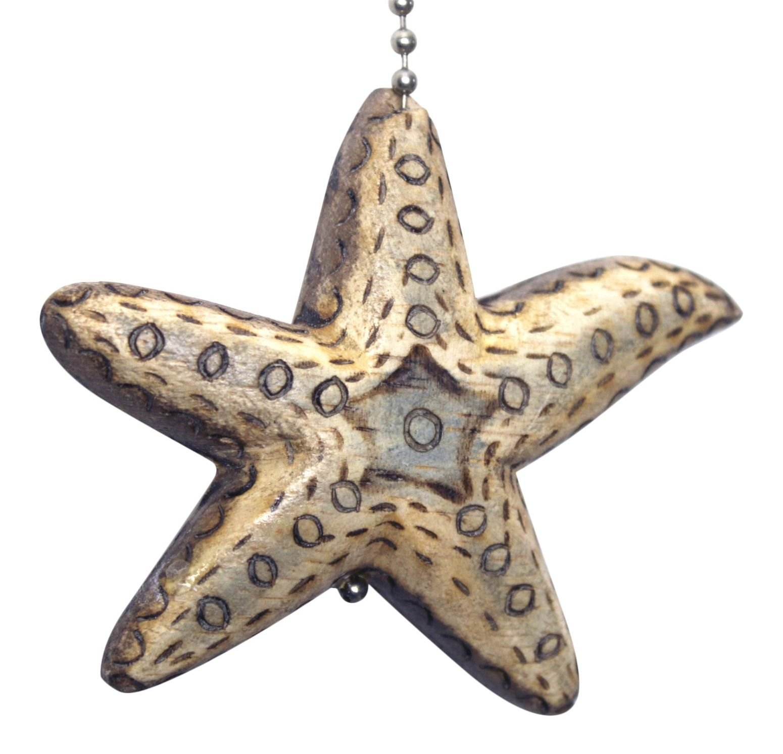 Gatton Coastal Starfish Hand Carved Wood Burned Wood Ceiling Fan Light Pull by Gatton