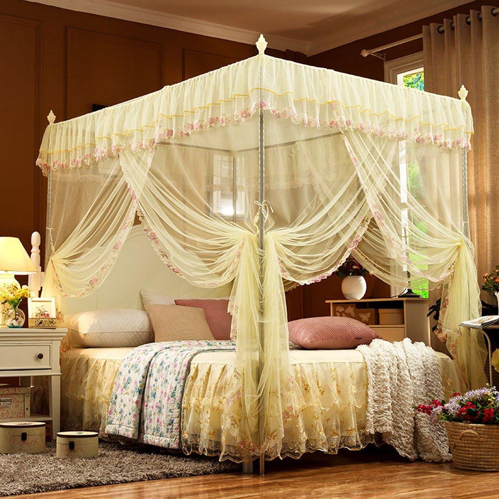 Mosquito net ZI LING Shop Moskitonetz DREI offenen Boden Edelstahl Sommer Korn 1.5m1.8m Bett 2 Meter Doppel Haushalt (16mm, Beige)