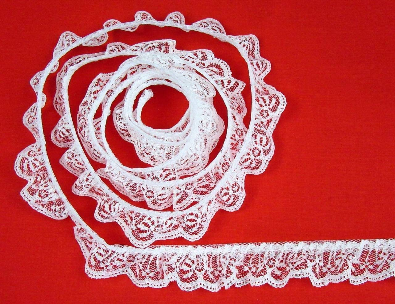 Red 2 Inch DOUBLE Ruffle Candlewick Lace Trim~By 5 Yards