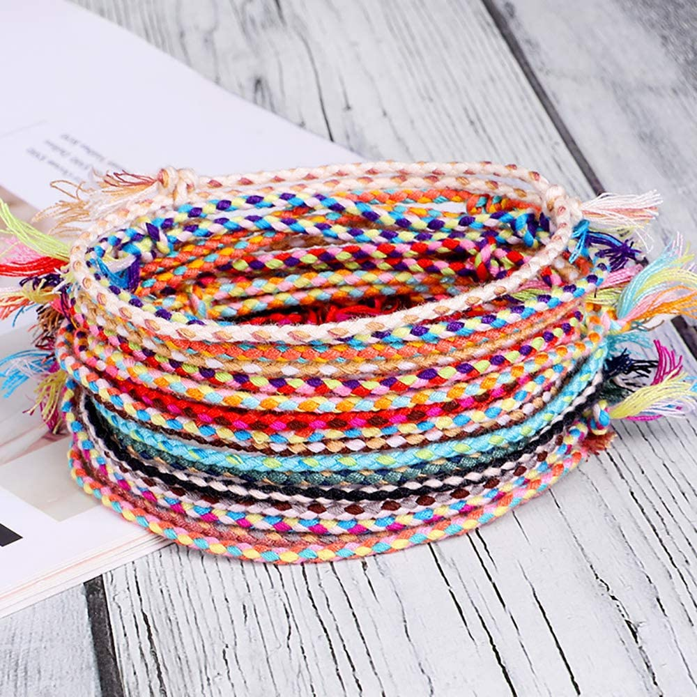 Jewdreamer 20Pcs Handmade Wrap Friendship Braided Bracelet for Women Teen Girls Colorful Wrist Cord Adjustable Birthday Gifts-Party Favors