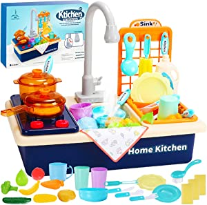 Cheffun Kids Play Kitchen Sink Toys - Pretend Play Automatic Faucet Recycling Water Dish Rack Cooking Pot Pan Utensils Set Accessories Play Food Toddler Toy for Boys and Girls Age 3 Years+ in Outdoor
