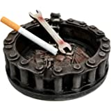 Atlantic Collectibles Mechanic Biker Motorcycle Round Belt Chain With Wrench Cigaretter Ashtray Resin Figurine