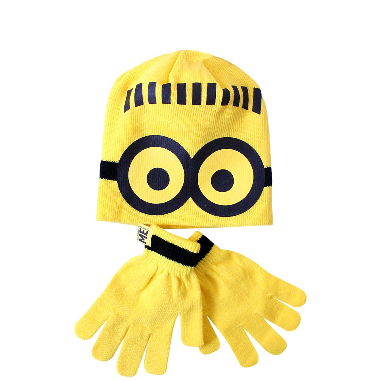 Boys Despicable Me Minions Yellow Beanie Hat Gloves Bob The Minion Print Design Ages 3-6 Years