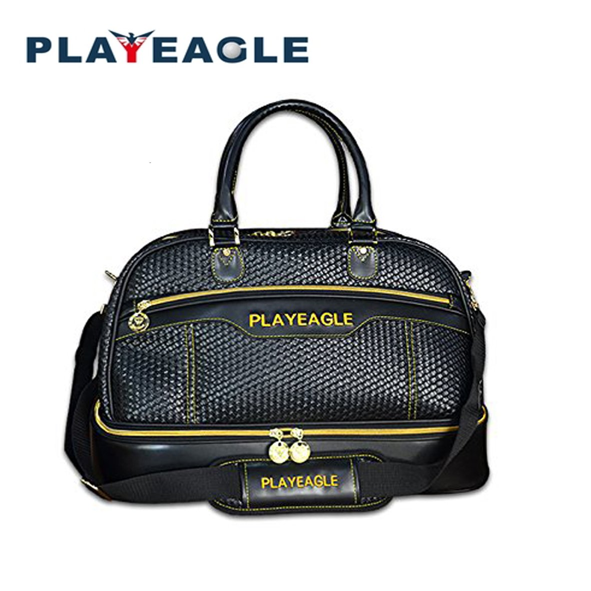 PLAYEAGLE New Men's Woven Stripe Golf Boston Bag Hard Bottom Double Layer Golf Duffel Bag Weekend Bag with Separate Shoe Pocket