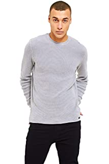 TCM Mens Wool Cotton Knit Sweater Comfortably Long Sleeve Fitted Crew Neck Pull Over