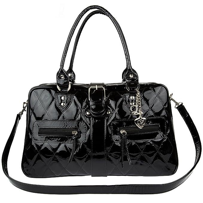 4d41b6a5708 Bolsa de piel para dama charol negro  Amazon.com.mx  Ropa