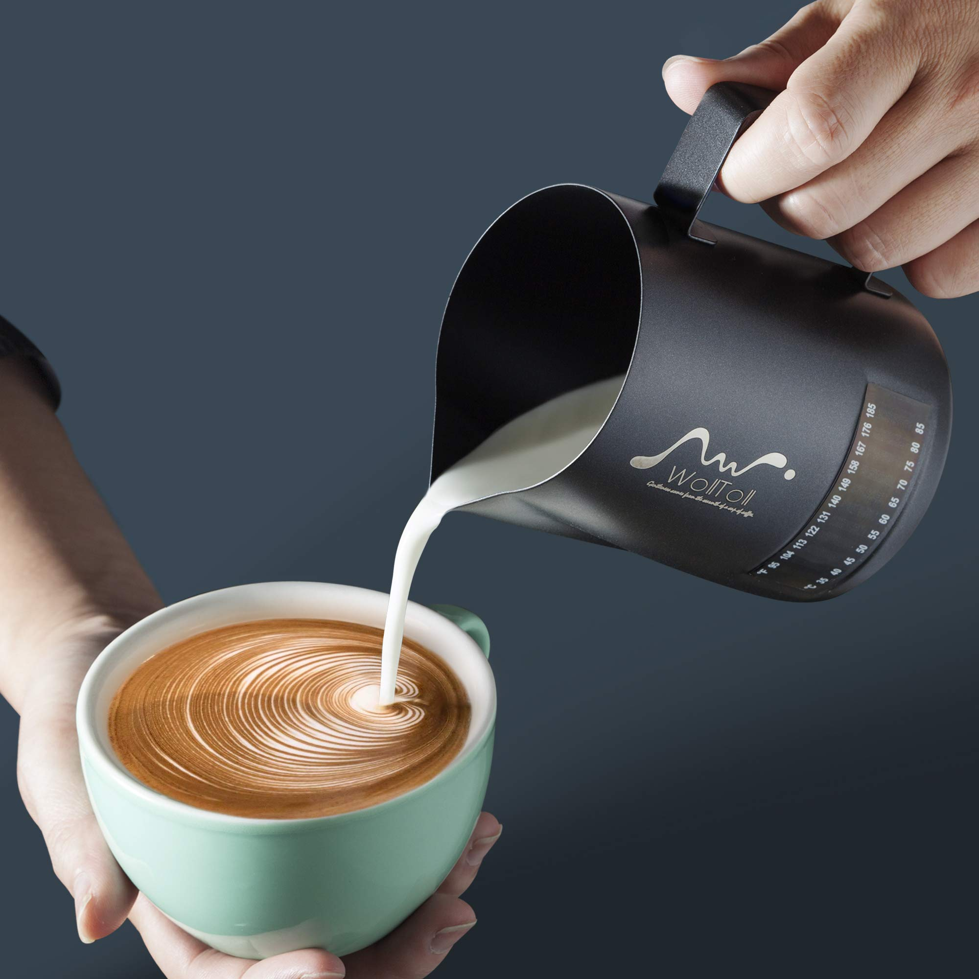 Milk Frothing Pitcher With Integrated Thermometer, 20oz/600ml Stainless Steel Non-Stick Teflon Milk Coffee Cappuccino Latte Art Barista Pitcher Milk Jug Cup,With Decorating Art Pen & Microfiber Cloth by Wolltoll (Image #8)