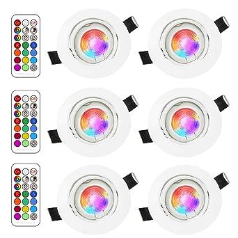 Foco Empotrable | Led Gu10 Luz de Techo 3W Blanco Cálido de 2700K | RGB Regulable Cambio de Color | Ojos de Buey ...
