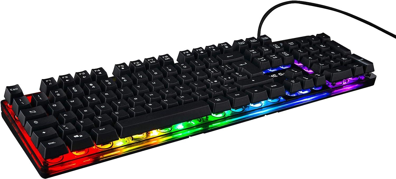 The G-Lab THE G-LAB Keyz Iridium Teclado Gaming QWERTY Incluye Ñ con Cable de Alto Rendimiento - Retroiluminación RGB Multicolor, 6 Macros, 26 Teclas ...