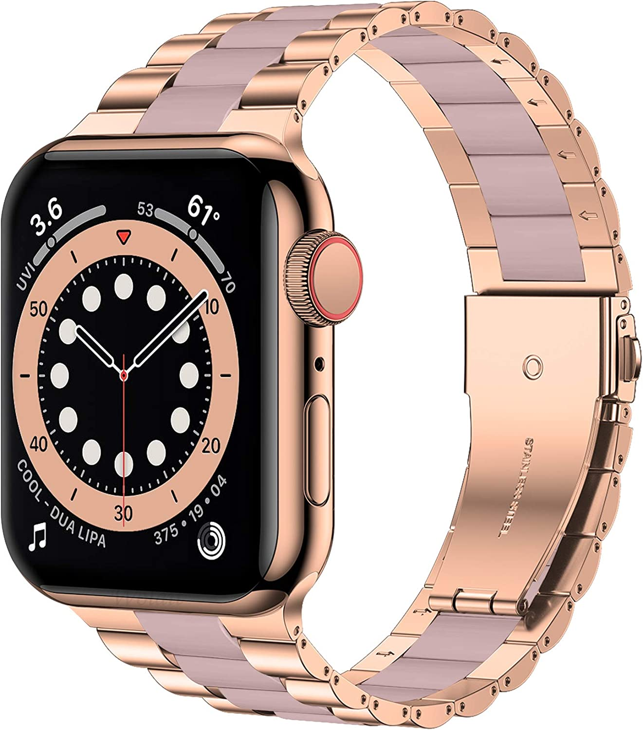 Wolait Compatible with Resin Apple Watch Band 38mm 40mm, Upgraded Fashion Light Stainless Steel Strap Wristband for iWatch SE/Series 6/5/4/3/2/1 Men Women,Rose Gold/Pink, 38mm/40mm